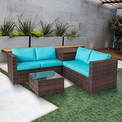 Outsunny 7 Piece Outdoor Patio PE Rattan Wicker Sofa Sectional Furniture Set |Aosom