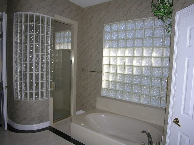 Love this idea of a doorless barrier  free glass block shower