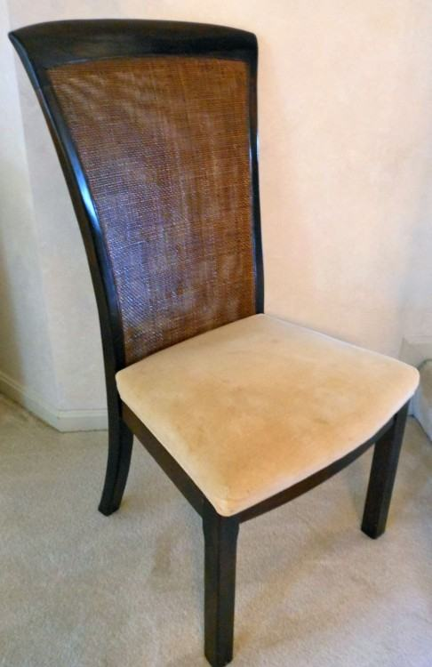 Contemporary Bernhardt Hibriten dining chair with woven back and ultrasuede  seat