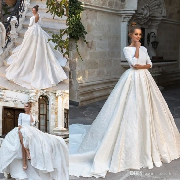 Discount Eva Lendel 2018 Simple A Line Wedding Dresses Illusion Applique  Long Sleeves Floor Length Beach Wedding Dress Bridal Gowns Sexy Wedding  Dress