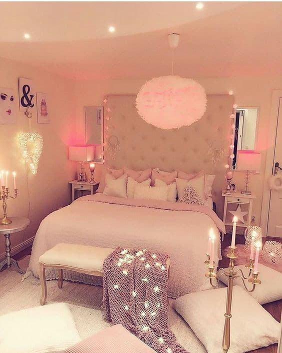 Bedroom inspiration for a great and pink Blush scheme with copper, textures  and coloured cushion in grey, pink and pattern