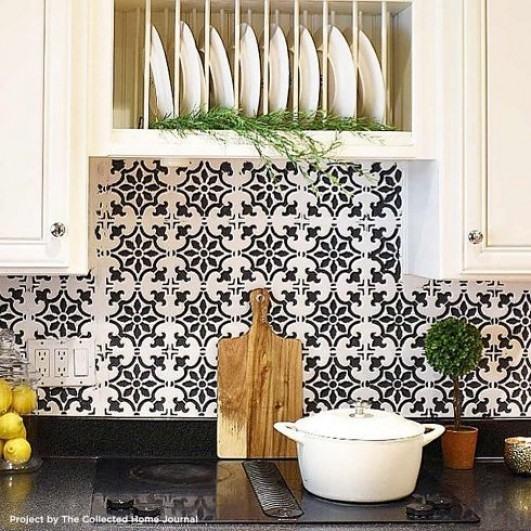 faux tile backsplash stencil simple kitchen design
