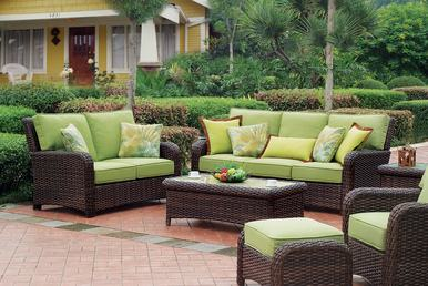 Modern Outdoor Affordable Furniture Using Brown Rattan Patio Chairs  With Brown Upholstered Seating And White