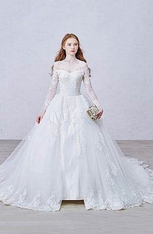 Discount Gorgeous A Line Wedding Dress Sheer Crew Neck Lace Appliques Heart  Shaped Back Bridal Gowns With Beaded Sash Sweep Train Wedding Dresses  Affordable