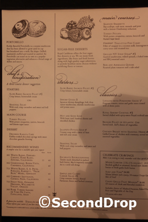 The dinner menus does not include dessert as the dessert menu is only  presented after the main course is completed