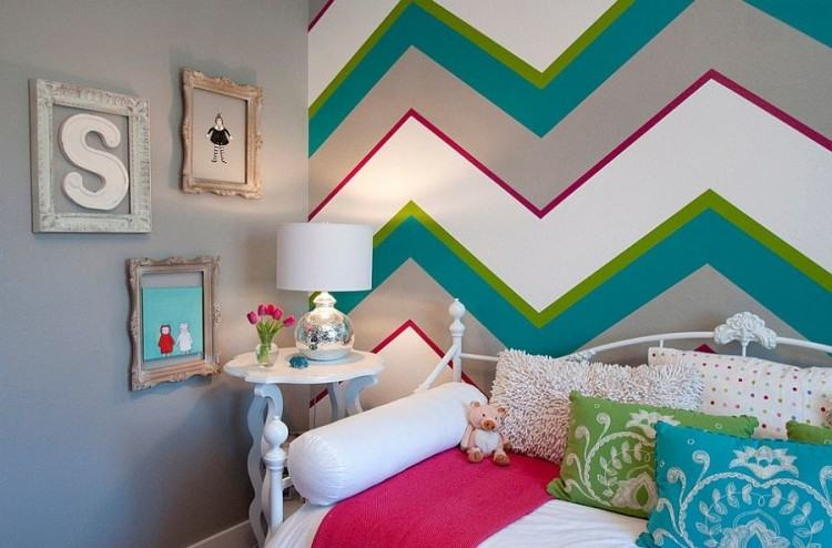 View in gallery Add energizing color to the kids' bedroom with cool stripes  [Design: C