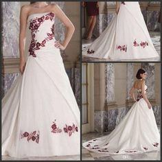 Discount Vintage Burgundy And White Gothic Wedding Dresses With Embroidery  2018 Modest Lace Up Sweep Train Matte Stain Garden Country Wedding Gown  Lace
