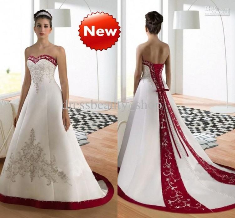 perfecct C352 plus size wedding dress burgundy red color trim