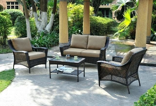 Halsted 4 Piece Wicker Patio Furniture Set Threshold