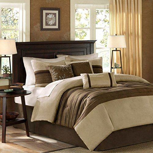 suede bed piece queen city loft brown and beige micro suede bed in a bag set