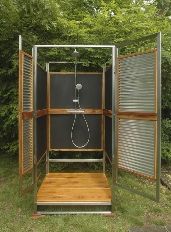 outdoor shower hot water