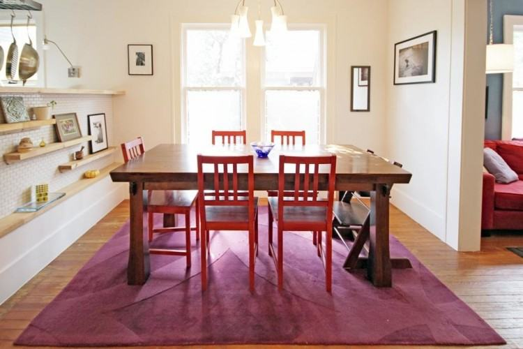 Great Traditional Red Dining Room With Teak Wood Dining Table Sets Added