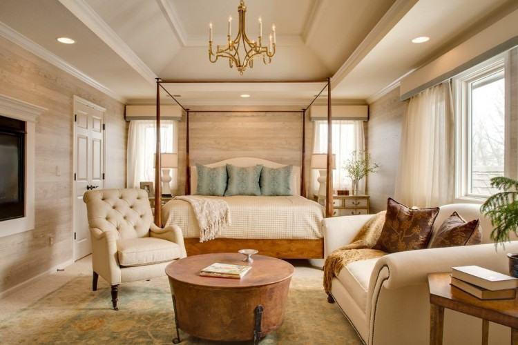 Copper grey & blush bedroom
