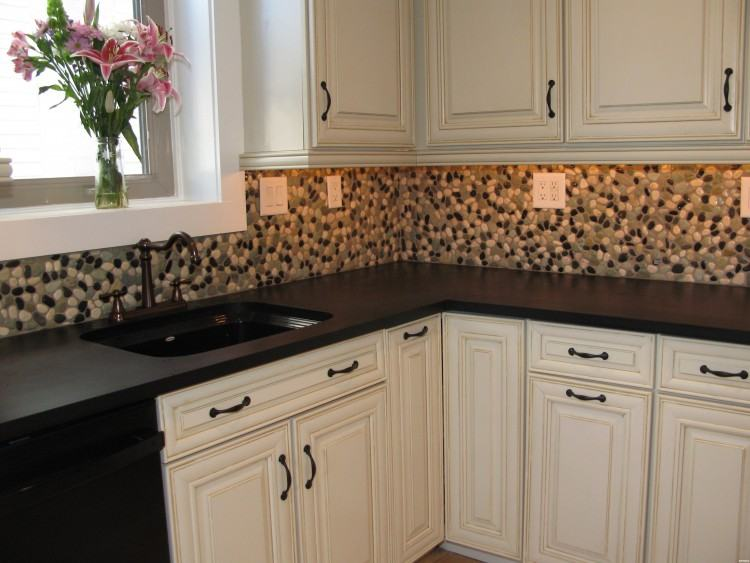 Brown Wooden Kitchen Cabinet With Grey Glass Mosaic Tiled Awesome Blue And Gray  Backsplash Tile Back