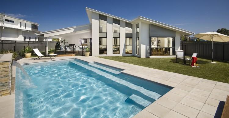 rectangle inground pools rectangular  pool landscaping