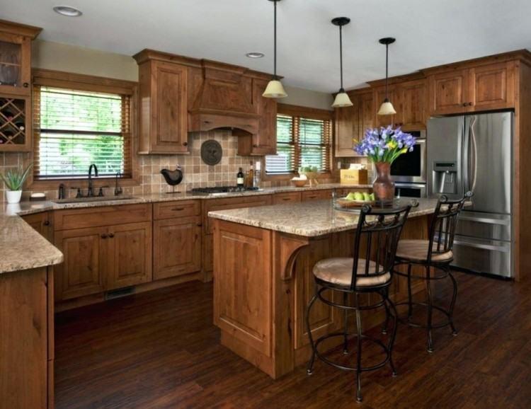kitchen backsplash and countertop ideas | Design Ideas That Excel : Wooden  Kitchen Cabinet Blue Brown Backsplash