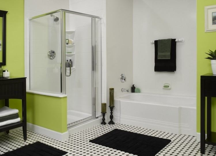 black and green bathroom