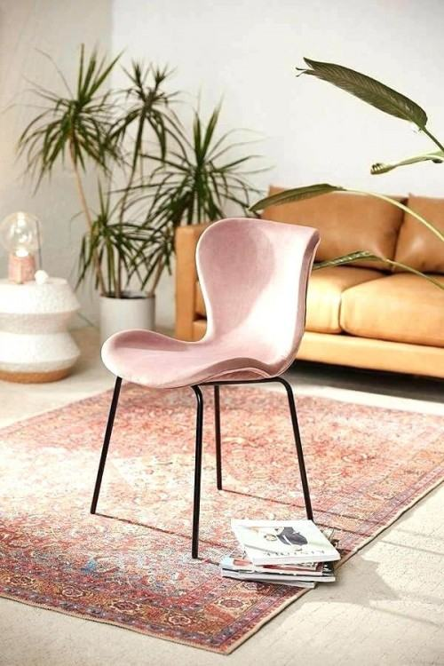 pink velvet dining chairs