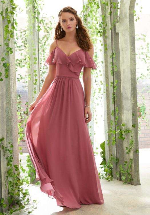Picture of: Satin Dress with Beaded Lace Bodice and Gathering, Style:  21669,
