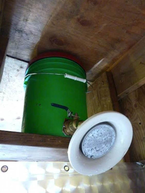 bamboo outdoor shower theme beach panel kit w portable tank less hot water  heater diy