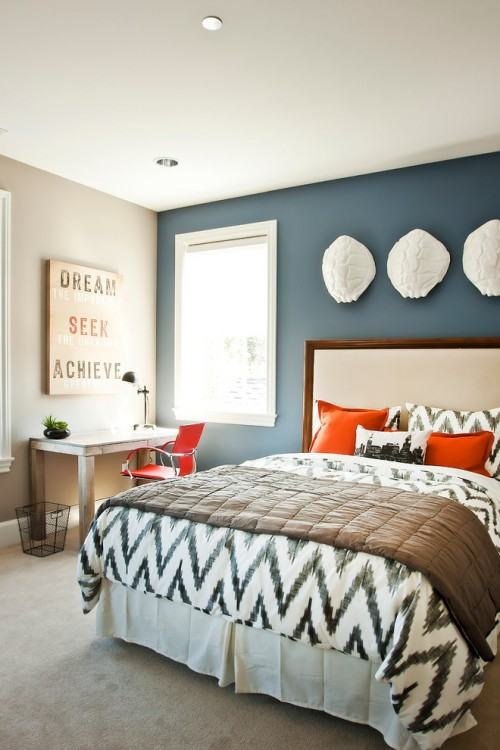 chevron accent wall in gray bedroom