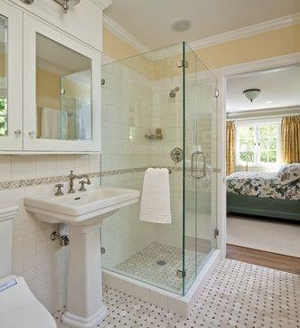Bathroom : Dazzling Modern Walk In Shower Designs For Small Bathrooms With  Cream Ceramic Wall Also Wooden Vanity Also White Marble Top Plus Clear  Glass