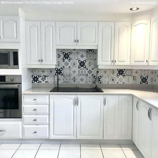 kitchen stencils  backsplash