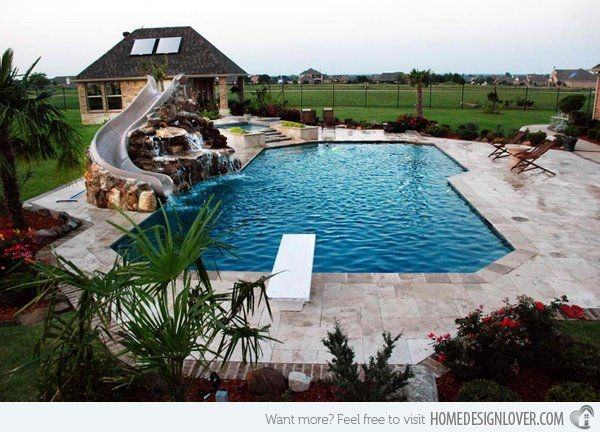 swimming pool slide ideas pools with slide waterfall ideas natural stone  swimming pool design pool slides