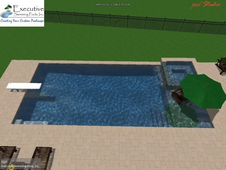 Rectangle pool with spa, mosaic tile, fire element, paver deck, and pool  lighting