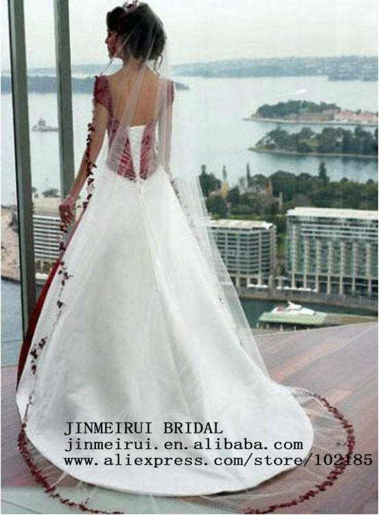 Discount 2018 Newest Real Image Burgundy White Satin Wedding Dresses A Line  Embroidery Spaghetti Straps Plus Size Wedding Bridal Gown Custom Made The