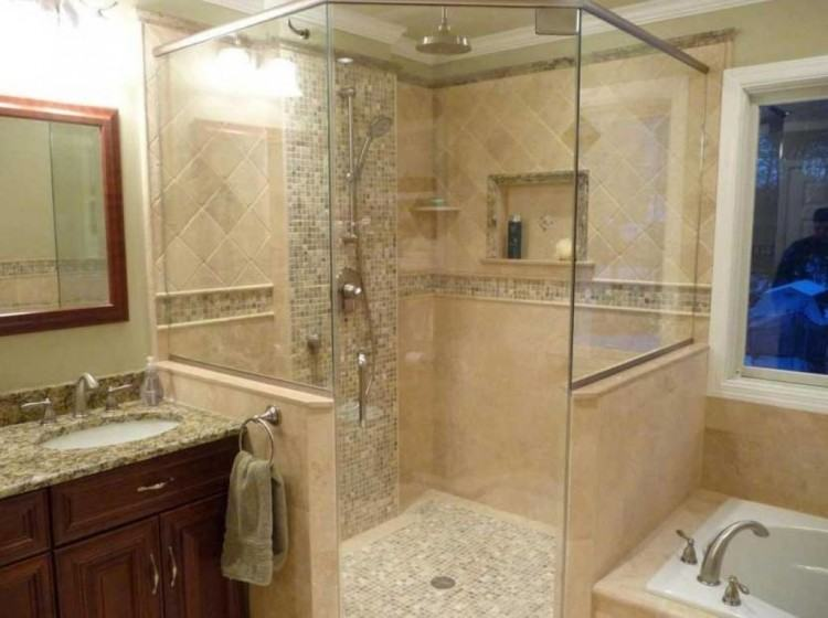 I would prefer a small glass and glass door than  a shower rod