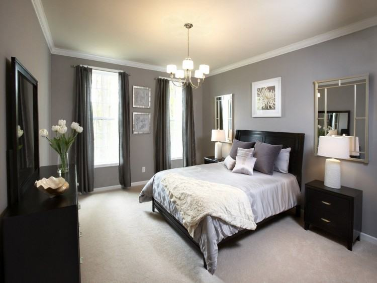 Modern looking master bedroom decorating ideas with gray walls what color,  white carpet covering the black hardwood floor