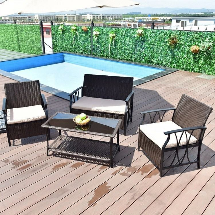 Giantex 4Pcs Outdoor Wicker Patio Furniture Set