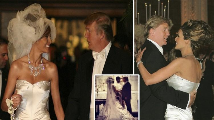 Pictures of Melania Trump Wedding dress and her engagement ring