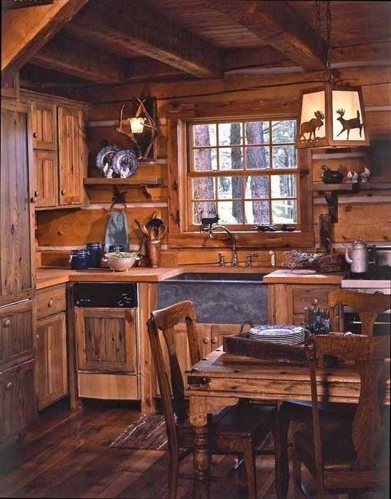 Kitchen, Image Of Log Cabin Kitchens Cabinets Log Home Kitchen  Cabinets: Beautiful Artistic Log