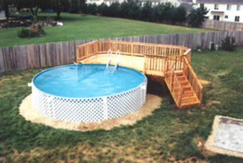 Impressive Image Of Backyard Landscaping Decoration Using Above Ground Round  Pool Deck Ideas : Charming Picture