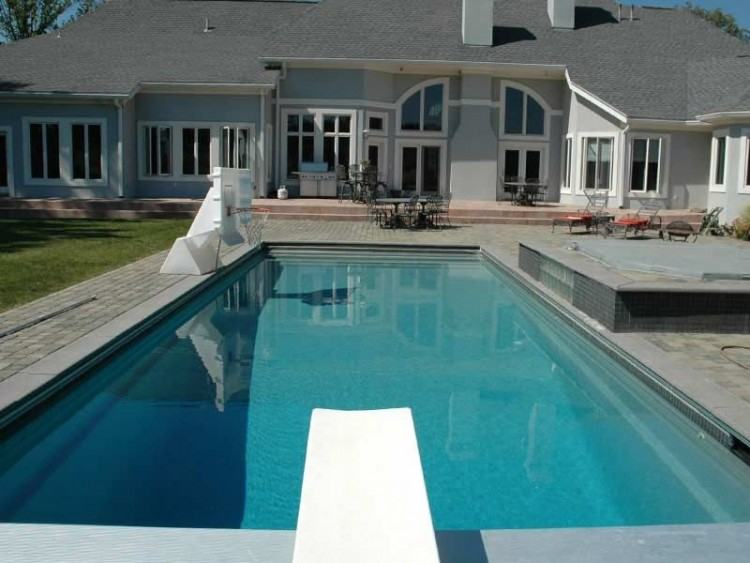 rectangle pool above ground with deck swimming trilogy shaped raised  spillover spa swim world pools re