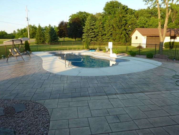 Stamped Concrete Patio Ideas For In Ground Pool Designs With Around