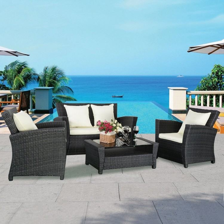 Nice Black And White Modern Rattan Outdoor Furniture That Can Be Decor With  Brown Cushion Can