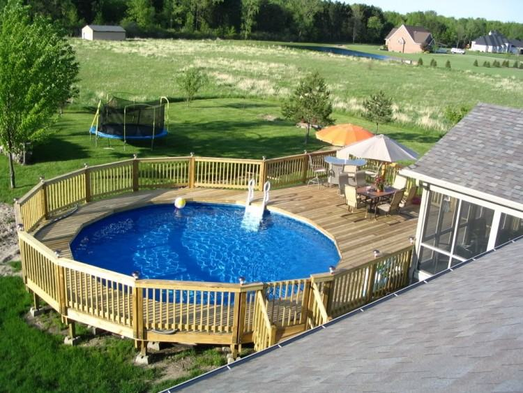 above ground pool ideas backyard semi pools landscaping best on patio  buried partially