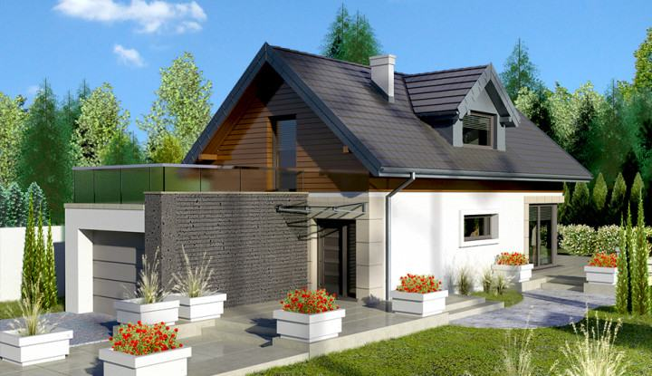 Small Attic Style Brick house design
