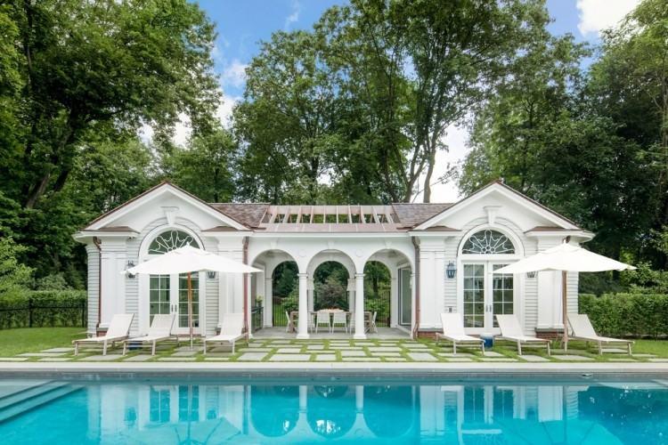 Cuisine d'été, pool house contemporain toit terrasse