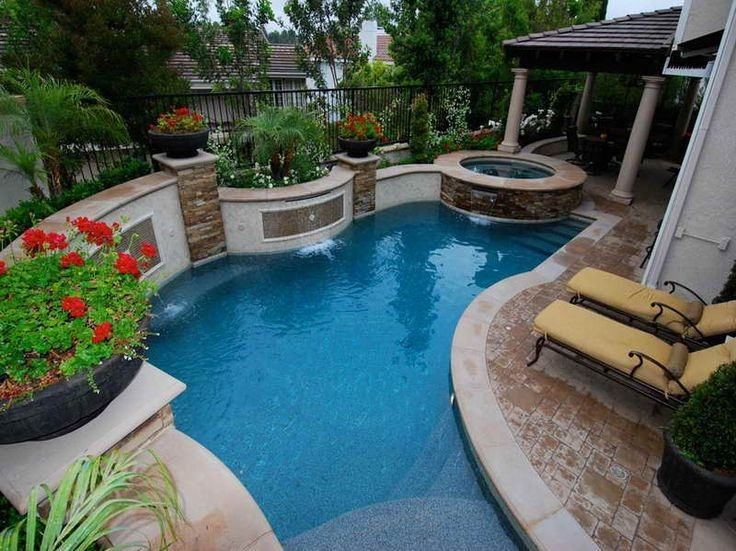 Swimming Pool : Astounding Oval Shape Swimming Pool Design With Chrome  Handrail Also Red White Pool Border Plus Wooden Backyard Fence Small Pool  Design to