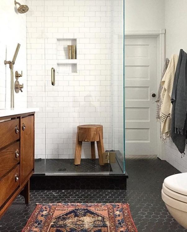 Bathroom Elegant Black Floor Tile Ideas Cmatched Bathrooms With Walls Gold  Wainscotting