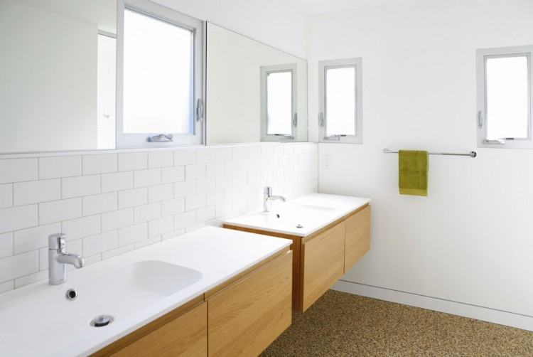 Shocking Decorating Ideas using Round White Sinks and Rectangular  Mirrors also with Rectangular Brown Wooden Vanity
