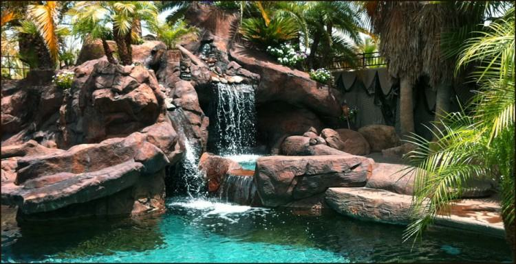Custom tropical swimming pool and waterfall design ideas Mahwah New  Jersey