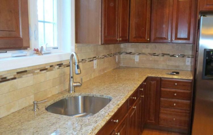Decorative Backsplash Ideas Travertine Tile Top Hardwood Kitchen Cabinets