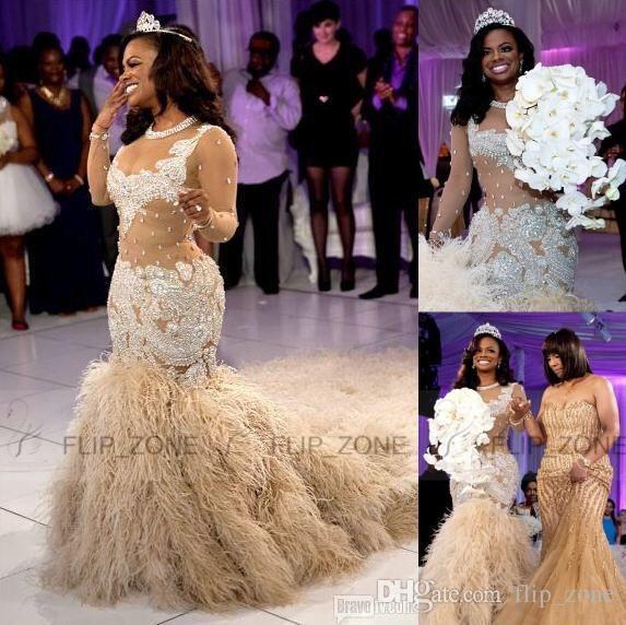 Großhandel 2016 Spring Wedding Dresses Lace Cap Sleeves Puffy Ballkleid  Kristalle Organza Backless Schulterfrei Plus Size Nigerian Wedding  Brautkleider Von