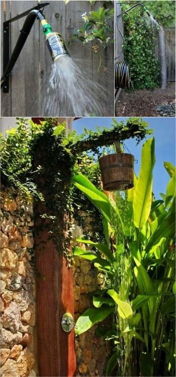 Rustic DIY Outdoor Shower Idea perfect for the beach house  and backyard
