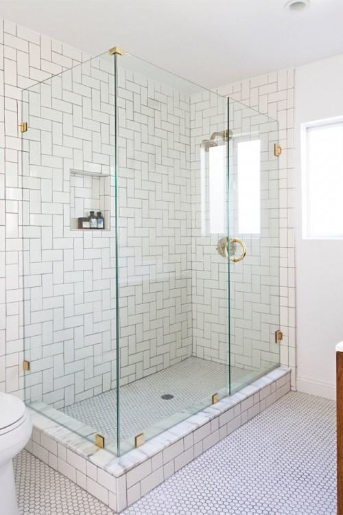 These  petite baths were completely transformed while keeping budget and style in  mind
